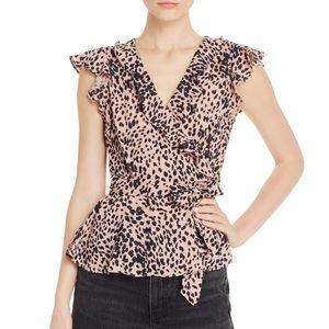 Aqua Leopard Print Ruffle Trim Top, Size M